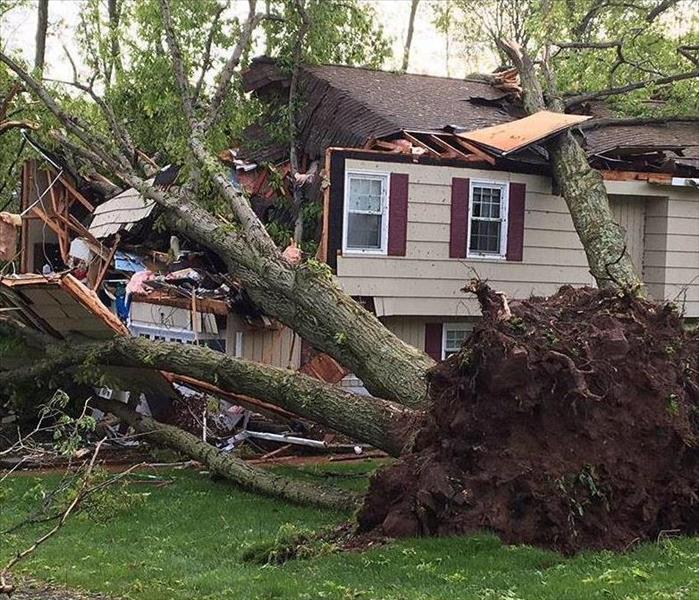 A storm caused a tree to fall on top of a home destroying the left side of the home.
