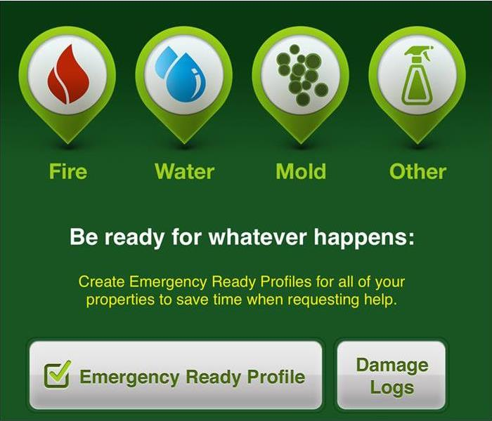 A picture of SERVPRO's Emergency Ready Program showing the services we offer. Fire, water, mold, and others.